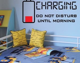 Charging Wall decal, Teens room wall decal, Kids room wall decal, Bedroom wall decal, Words wall decal, Battery wall decal 083