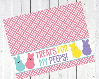 easter bag toppers peeps treats candy - Treats For My Peeps Bag Toppers Printable