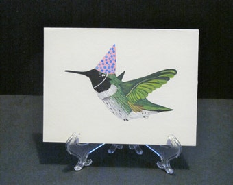 Hummingbird with party hat - hand painted Art Card