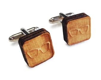 Wooden Cufflinks: Glasses