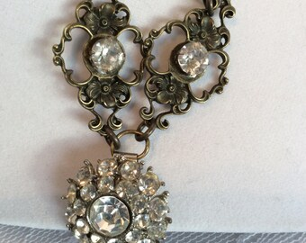 Antique Gold Necklace with Vintage Rhinestone Pendant