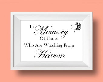 Instant download, heaven, wedding, in memory, because someone we love is in heaven, heaven wedding sign