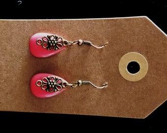 Earrings pink enamel - copper