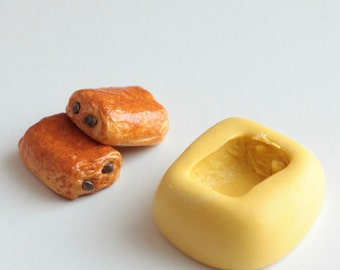 Mold silicone bread realistic chocolate 1.5 cm. Miniature polymer clay fimo, resin, airclay,