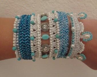 PATTERN : Bead Crochet Bracelet Cuff Turquoise-Blue-Pearl-Swarovski