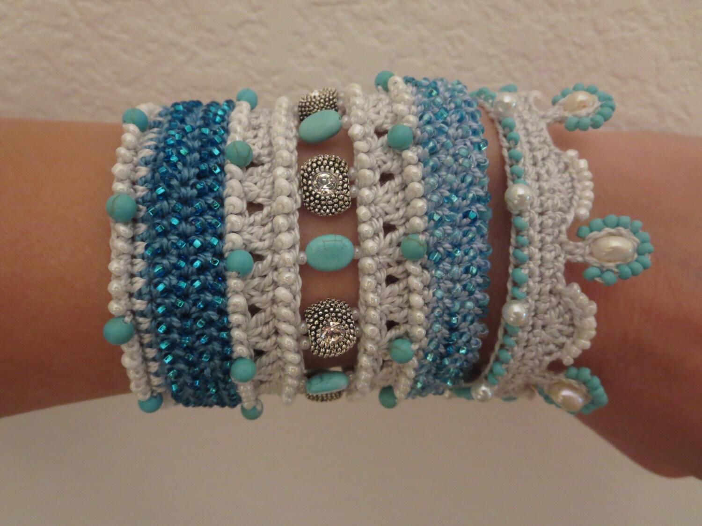 pattern bead crochet bracelet cuff