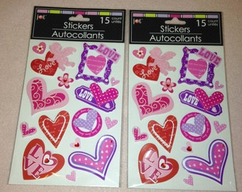 Lot of 2 Packs of 3D / Pop-Up Valentine's Day / Love Themed Cardstock Stickers.