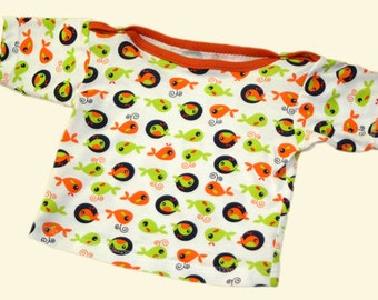 White retro T-shirt for babies with whales in orange and green