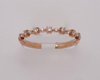 14K Rose Gold Diamond Prong Band