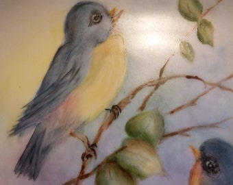 Bluebirds Hand Painted Collectible Plate Birds Nest Eggs Nature Spring Cherry Blossoms Shabby Chic