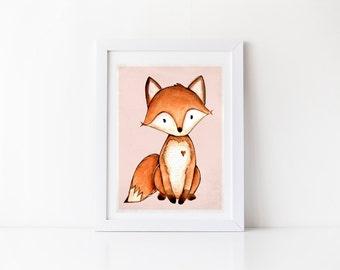 SALE - Forest Animal Print - fox print, girl room decor, girls room wall art, nursery room decor, art print, wall print