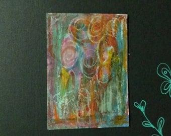 ATC - Floral mixed media abstract