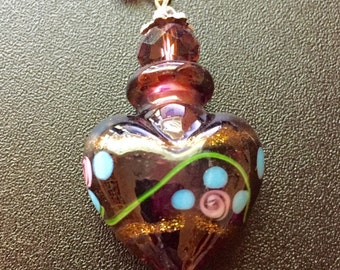 Purple murano glass bottle pendant with flowers and foil