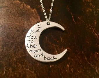 Silver necklace with engraved moon pendant, I love you to the moon and back