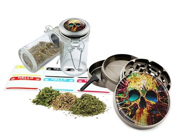 "Psychedelic Skull - 2.5"" Zinc Alloy Grinder & 75ml Locking Top Glass Jar Combo Gift Set Item # 110514-0010"