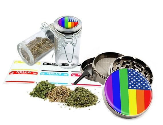 "Gay Flag - 2.5"" Zinc Alloy Grinder & 75ml Locking Top Glass Jar Combo Gift Set Item # 110514-0027"