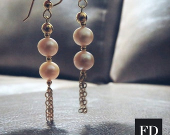 Drop Top gold earrings with Champagne pearls
