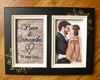 Personalized wedding frame 5x7 Engagement personalized frame Custom wedding frame Bridal shower gift Boyfriend girlfriend gift