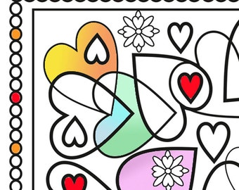 Heart and flowers colouring page for all ages.  An art therapy, relaxation and hobby pastime. Valentine doodle.