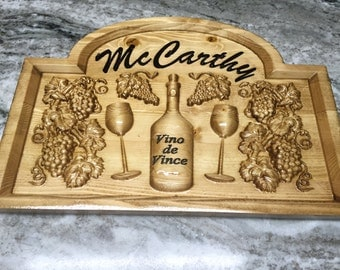 Carved personalized wine lovers' sign
