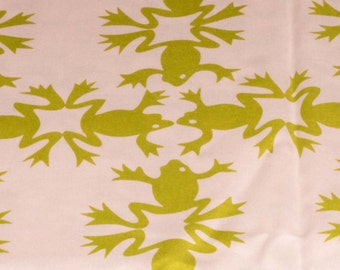 Alexander Henry Fabric - 2007 Collection Green Leap Frogs - FREE SHIPPING for orders over 50 USD