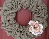 """Simple spring burlap wreath - burlap wreath - spring burlap wreath - pink white flower 16"""" wire wreath frame"""