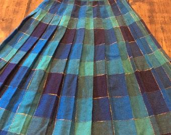 Vintage 80s Skirt, Plaid Skirt, Blue Green Skirt, Private, Catholic School Uniform, Costume (B207)
