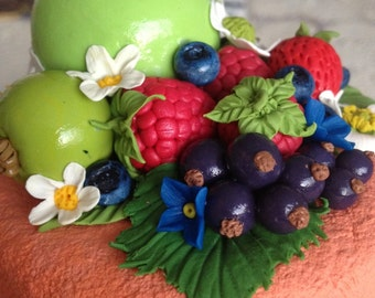 Flower, fruit and berries decorated jars (sample)