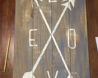 Love and Arrows Reclaimed Wood Art