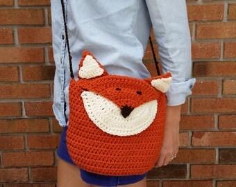 Handmade crochet fox purse