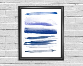 DIGITAL PRINT - Navy Watercolor Ombre Stripes, Abstract, Wall Art