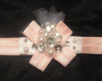 Pink and bling baby headband, newborn headband, princess headband, pretty in pink, fancy headband, first photo shoot