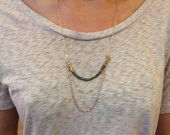 Long Gold/Mixed Metal Chains with Pyrite