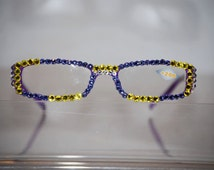 2.00 Swarovski Crystal Reading Glasses (purple, Crystal and gold) FREE SHIPPING