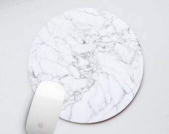 Marble Mouse Pad Marble Mousepad Mouse Mat White Mousemat Office Desk Accessories Round Mouse Pad Round Mousepad White marbe stone MP_001