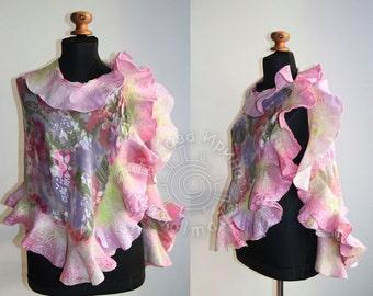 Felted Scarf Сharm felt wool nuno felted scarf,eco felted shawl, nunofelted wool scarf, artistic silk
