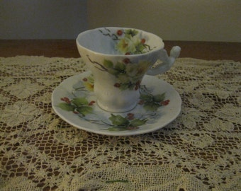 Shirley Roney Artist Signed Hand Painted Yellow Roses Motif Angel Handle Cup & Saucer NEW! #SR