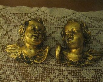 Stunning Italian Gold Gilded Molded Angel Wall Plaques Vintage 70's! #RH