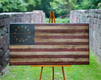 Wooden antiqued 13 star American Flag- Made by Combat Veterans