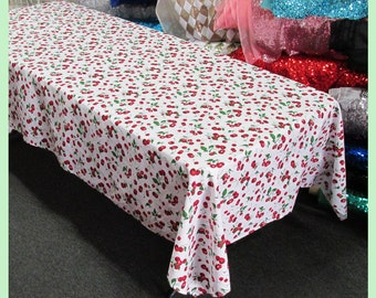 Cherry Print Cotton Rectangle Tablecloth 58 X 108 inches White