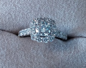 14kt White (or Rose) Gold Halo Engagement Ring.