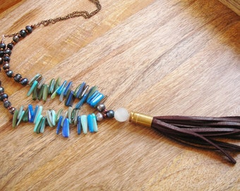 Leather Tassel Spike Necklace