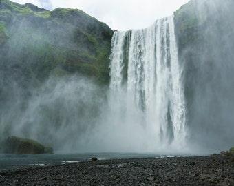 Iceland Photography, Skogafoss Waterfall, Cascade, Misty Green Landscape, Iceland Landscape Print, Europe Nature Photo, Iceland Fine Artwork