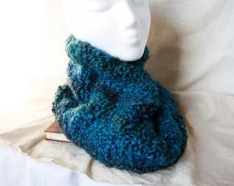 Sapphire Blue Scarf,Circular Cowl Scarf, Knit Scarf, Infinity Scarf, Knit Cowl Scarf, Hood Loop, Circle Scarf,  Neck Warmer, Buff, Knit Buff