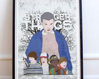 Fan Art Poster Print - Stranger things textured digital drawing.