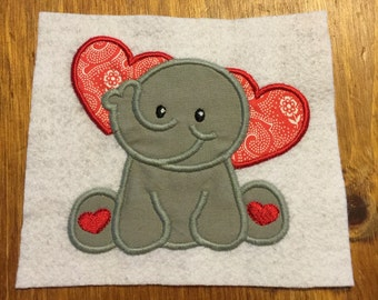Embroidered and Appliqued Kids Clothes-Valentine's Elephant Long Sleeve Shirt or Onesie