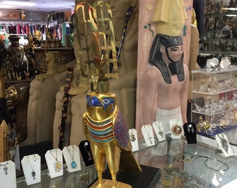 "REPLICA"" Large Egyptian God Hours Hand Painted Made In Egypt"