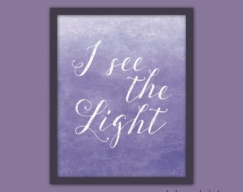 "I See the Light ""Tangled"" Rapunzel Art Quote Poster Typography Print"