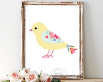 Nursery art, Nursery bird, decor, print, kids wall art, instant download, baby nursery art, kids room, bird wall art, baby girl, printable