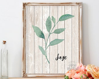 Sage print, sage green, kitchen decor, home print, botanical print, kitchen art, herb print, wall art, herb, kitchen wall art